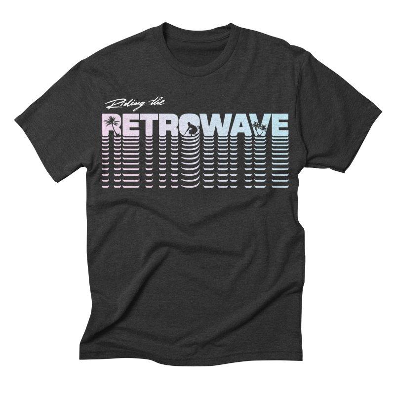 Riding the Retrowave Men's Triblend T-shirt by Rolly Rocket - Retro Futuristic Art