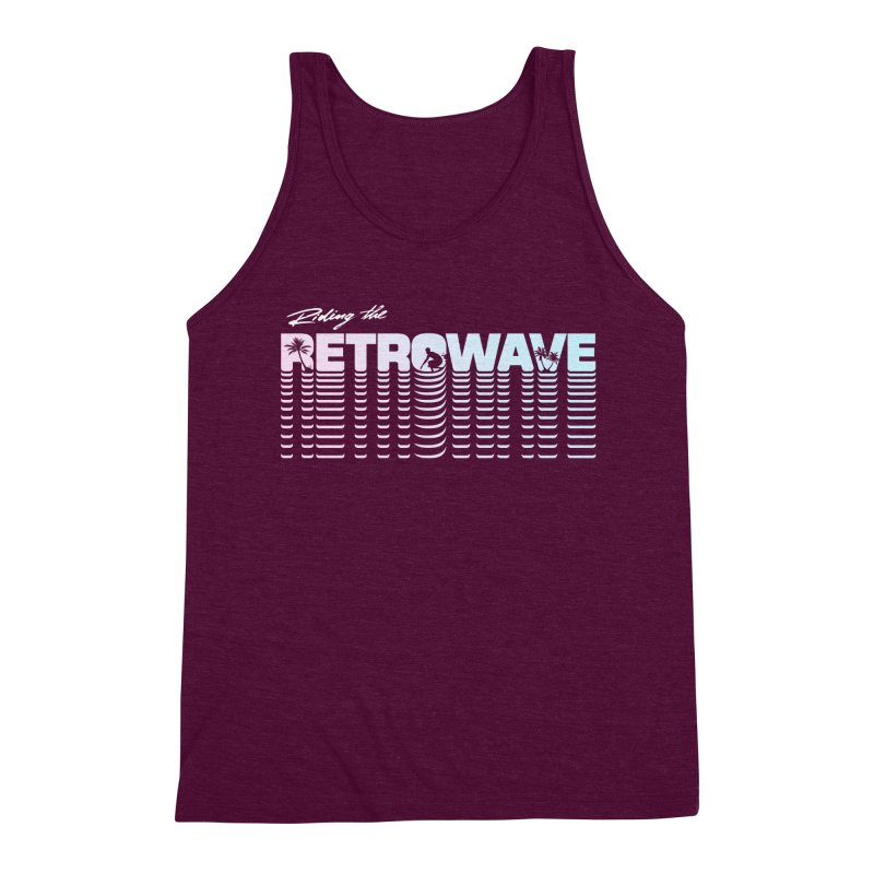 Riding the Retrowave Men's Triblend Tank by Rolly Rocket - Retro Futuristic Art