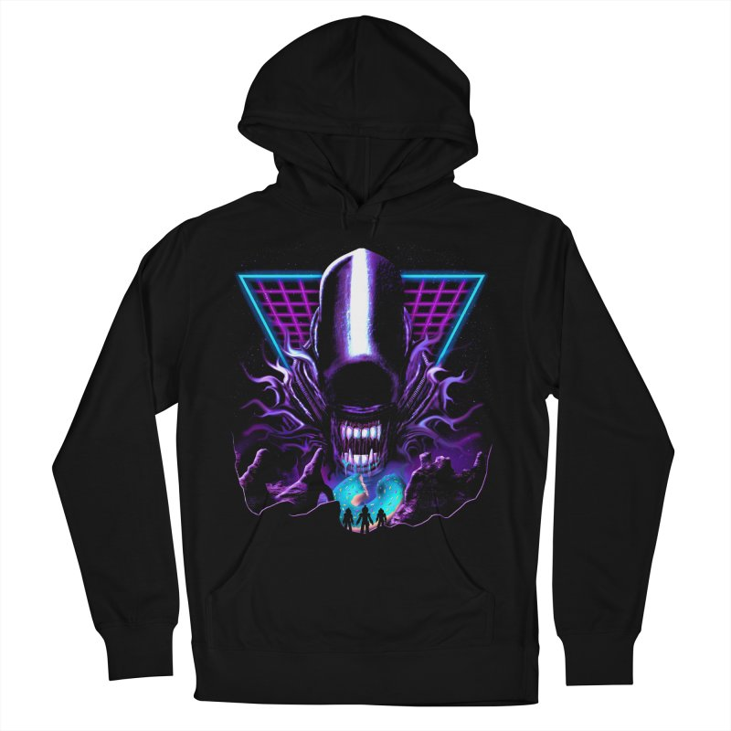 Aliens Donut Exist Men's French Terry Pullover Hoody by Rolly Rocket - Retro Futuristic Art