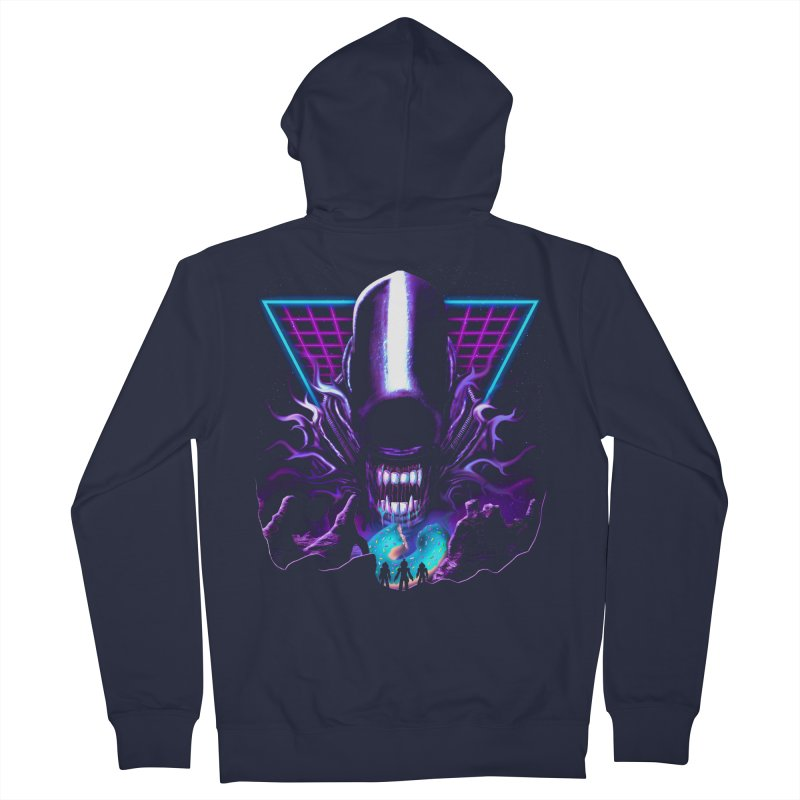 Aliens Donut Exist Men's French Terry Zip-Up Hoody by Rolly Rocket - Retro Futuristic Art