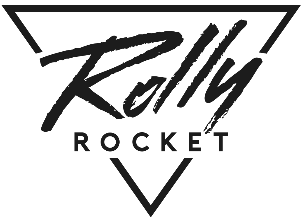 Rolly Rocket - Retro Futuristic Art Logo