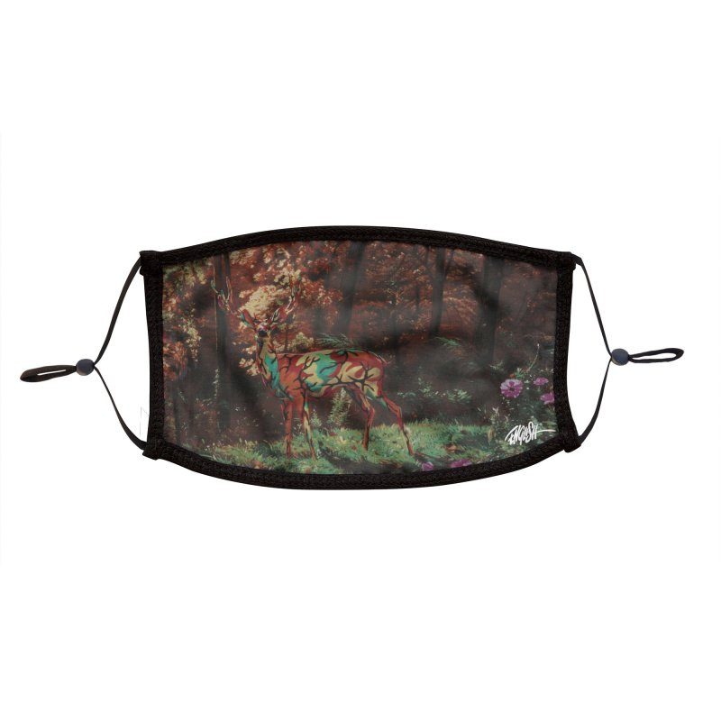 Camo Deer In Autumn Accessories Face Mask by Ron English