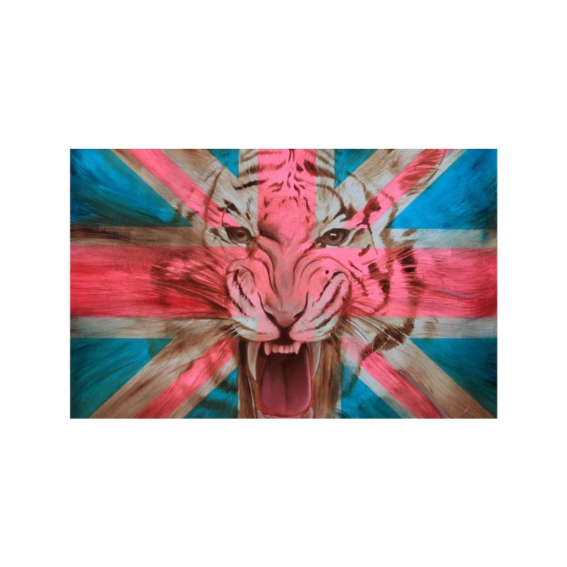 Union Jack Tiger Accessories Face Mask by Ron English