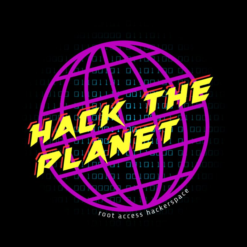 HACK THE PLANET Men's V-Neck by Root Access Hackerspace