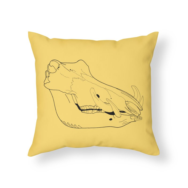 Warthog Skull Home Throw Pillow by rootinspirations's Artist Shop