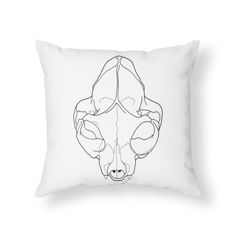 House Cat Skull, Top View Home Throw Pillow by rootinspirations's Artist Shop