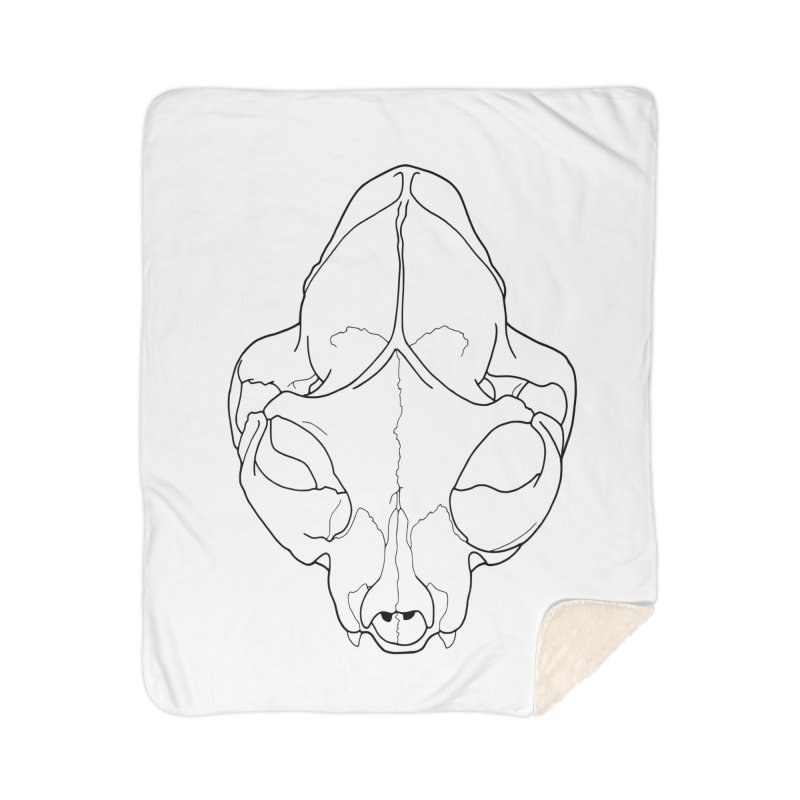 House Cat Skull, Top View Home Blanket by rootinspirations's Artist Shop