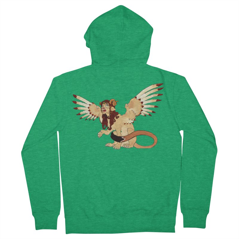 Sphynx Goddess woman lion eagle mythical creation Men's Zip-Up Hoody by rootinspirations's Artist Shop