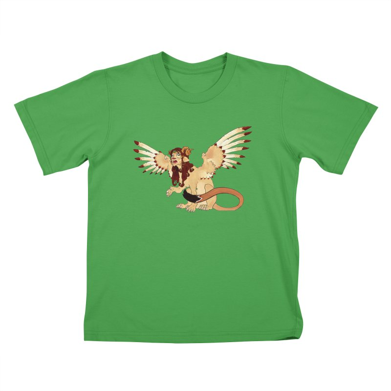 Sphynx Goddess woman lion eagle mythical creation Kids T-Shirt by rootinspirations's Artist Shop