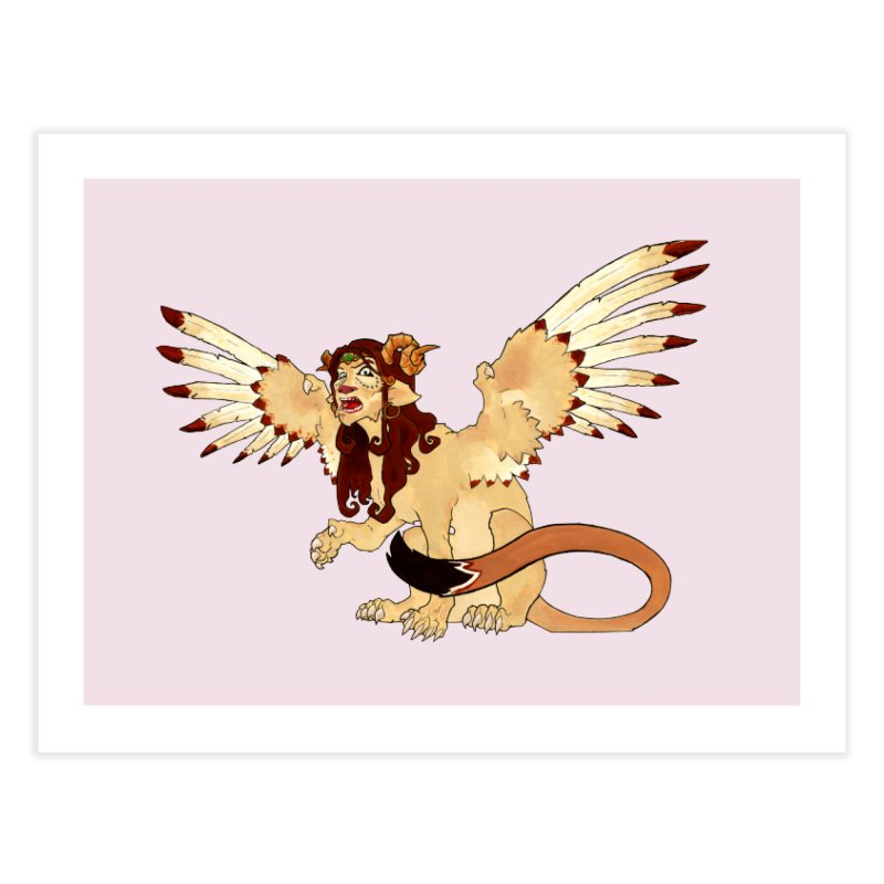 Sphynx Goddess woman lion eagle mythical creation Home Fine Art Print by rootinspirations's Artist Shop