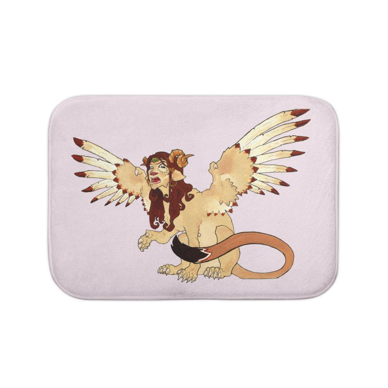Sphynx Goddess woman lion eagle mythical creation Home Bath Mat by rootinspirations's Artist Shop