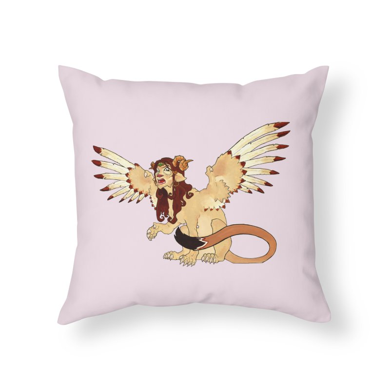 Sphynx Goddess woman lion eagle mythical creation Home Throw Pillow by rootinspirations's Artist Shop
