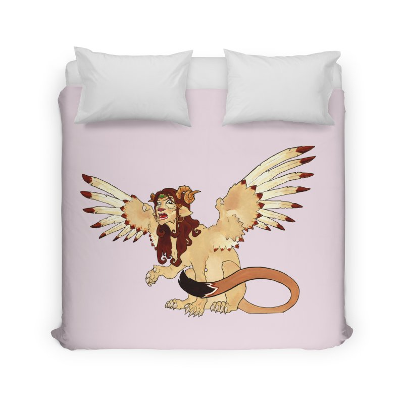Sphynx Goddess woman lion eagle mythical creation Home Duvet by rootinspirations's Artist Shop