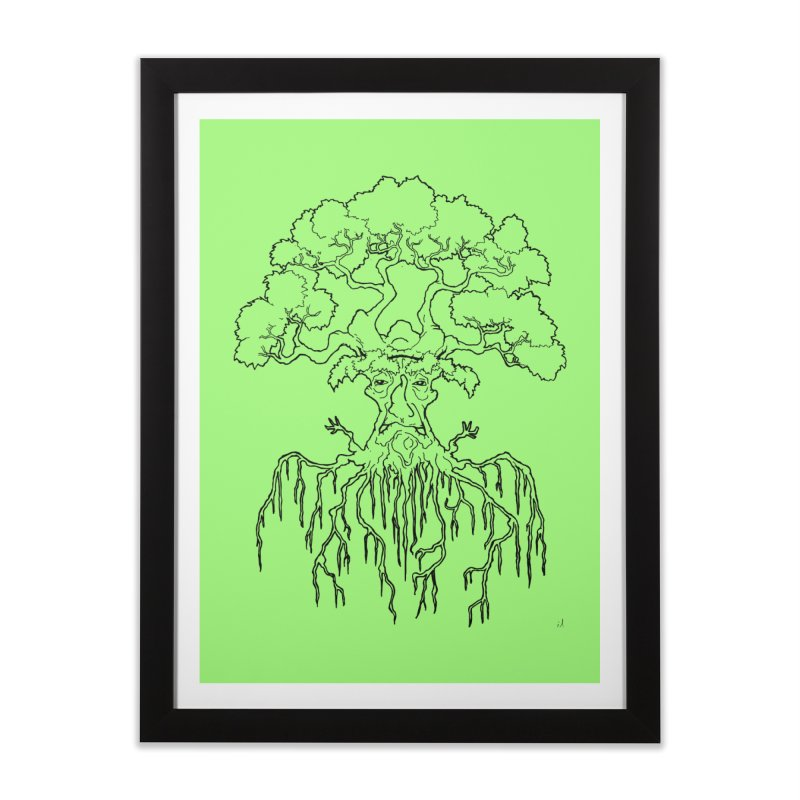 Duality Tree, Tree of Life, line-art tree design Home Framed Fine Art Print by rootinspirations's Artist Shop