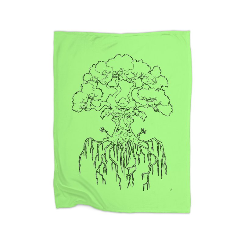 Duality Tree, Tree of Life, line-art tree design Home Blanket by rootinspirations's Artist Shop