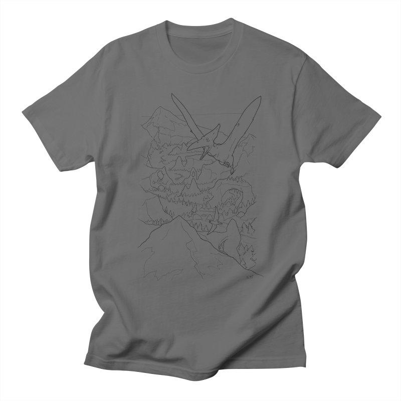 Ptersosaur Paleo Scene, new mexico landscape, flying dinosaur Men's T-Shirt by rootinspirations's Artist Shop