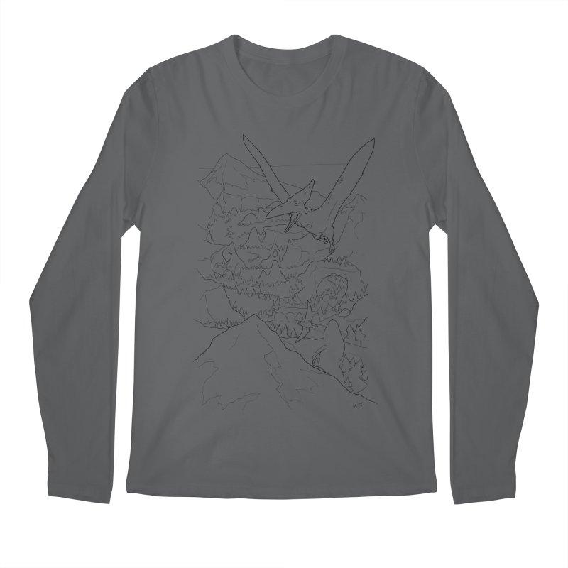 Ptersosaur Paleo Scene, new mexico landscape, flying dinosaur Men's Longsleeve T-Shirt by rootinspirations's Artist Shop