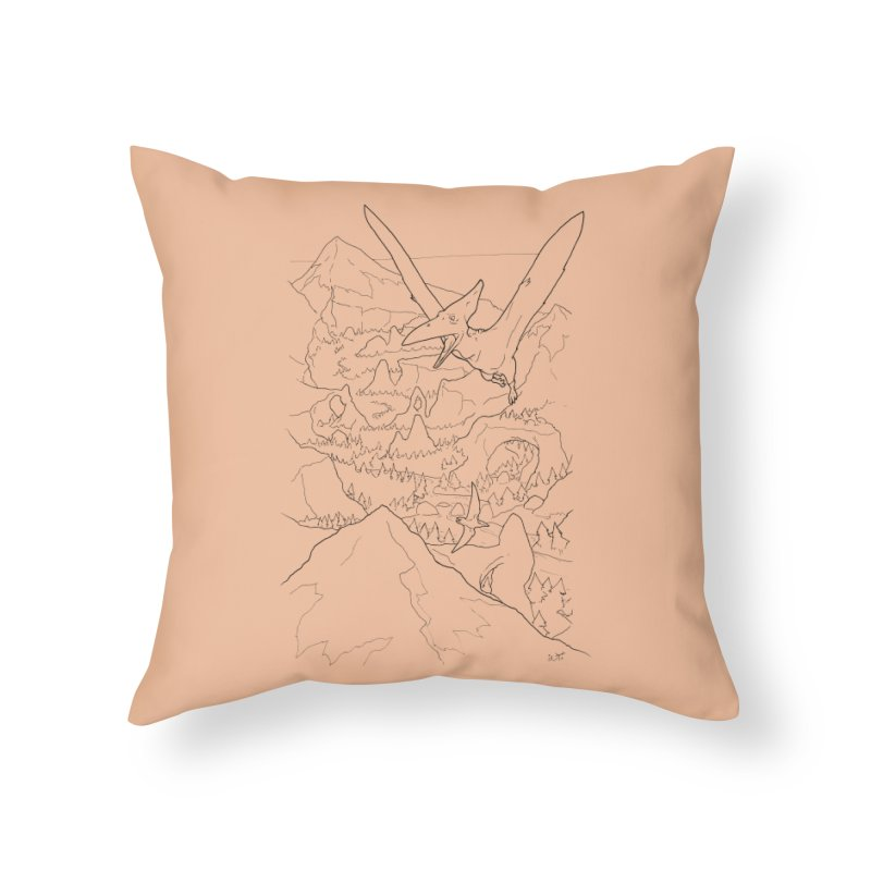 Ptersosaur Paleo Scene, new mexico landscape, flying dinosaur Home Throw Pillow by rootinspirations's Artist Shop