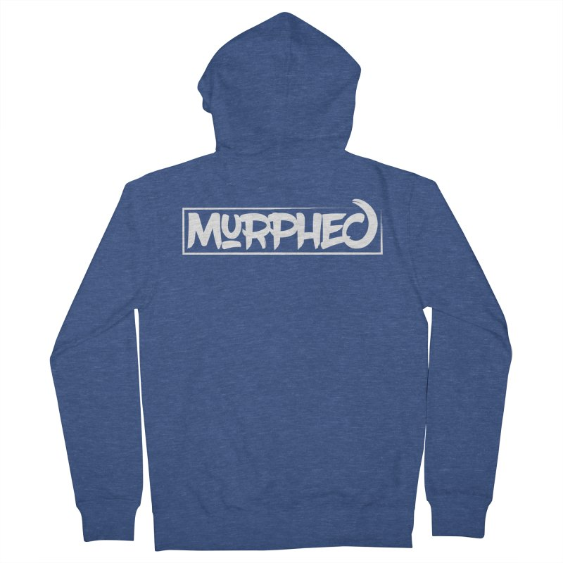 Murphed Logo (White on Black) Men's French Terry Zip-Up Hoody by Murphed