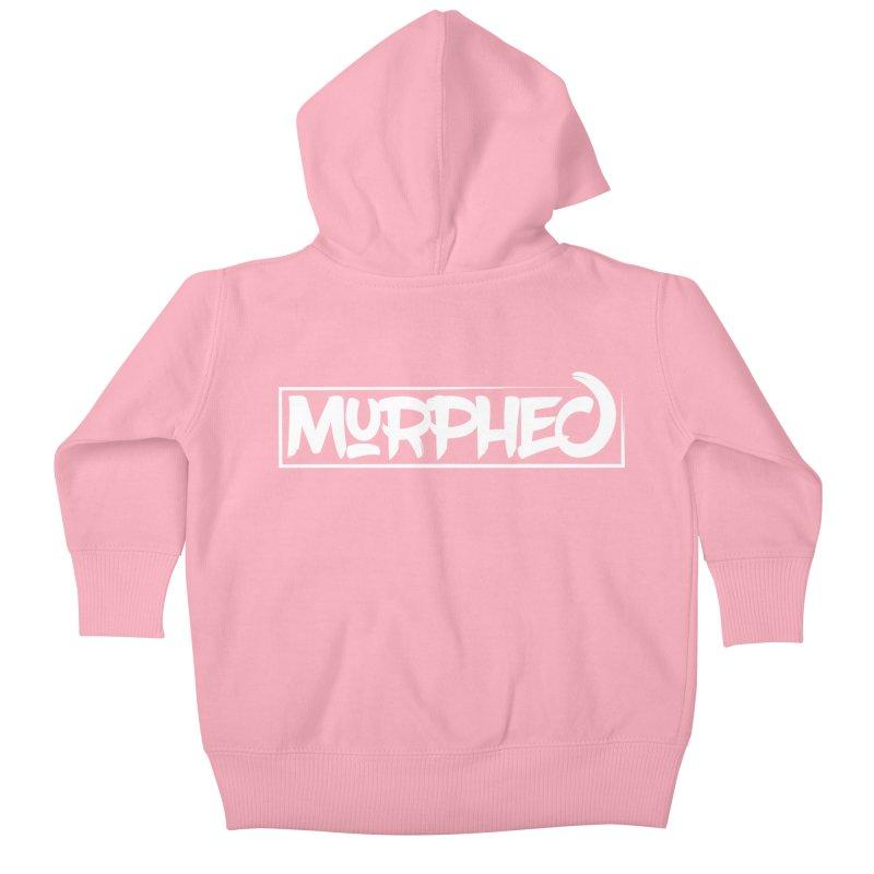 Murphed Logo (White on Black) Kids Baby Zip-Up Hoody by Murphed