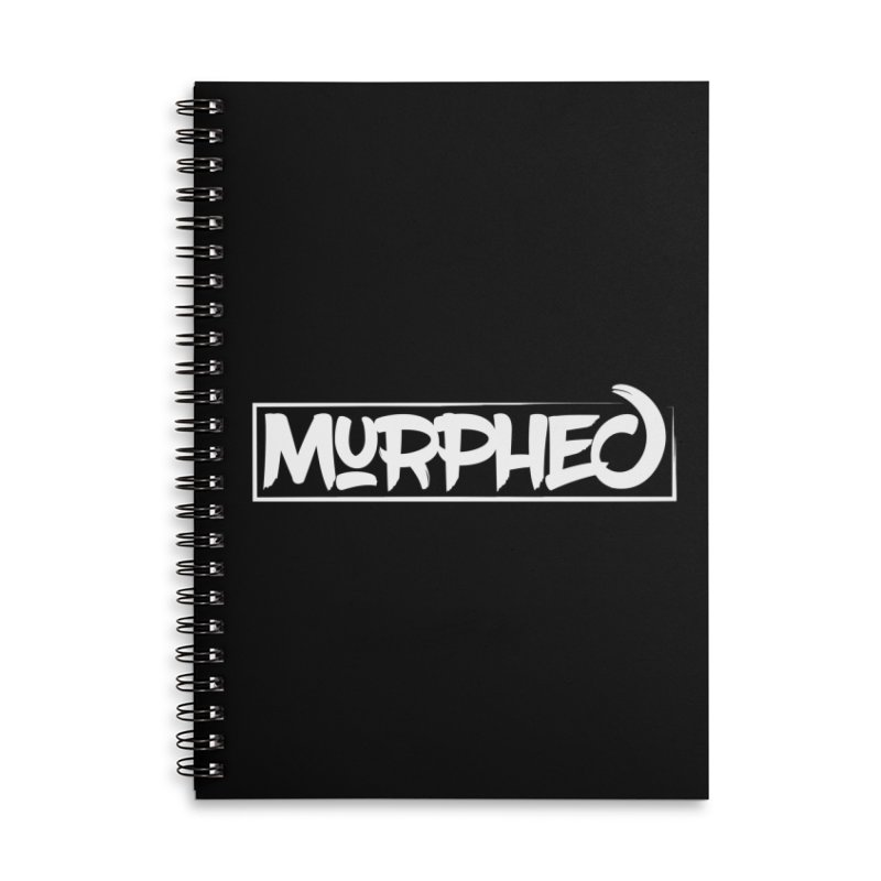 Murphed Logo (White on Black) Accessories Lined Spiral Notebook by Murphed