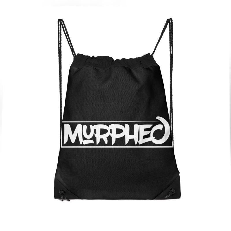 Murphed Logo (White on Black) Accessories Drawstring Bag Bag by Murphed