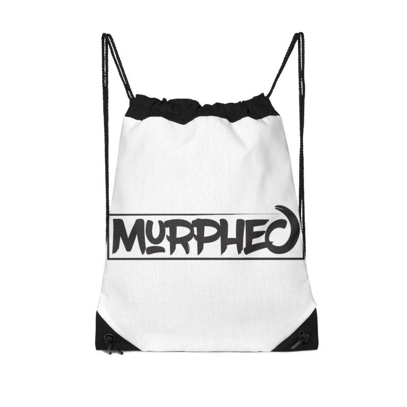 Murphed Logo (Black on White) Accessories Drawstring Bag Bag by Murphed