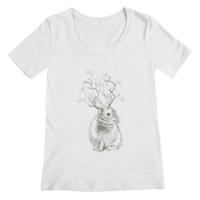 Forest Bunny Women's Scoopneck by rosebudstudio's Artist Shop