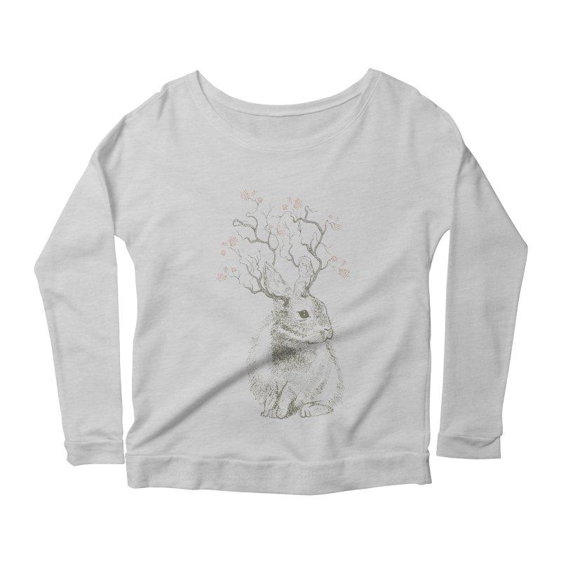 Forest Bunny Women's Longsleeve Scoopneck  by rosebudstudio's Artist Shop