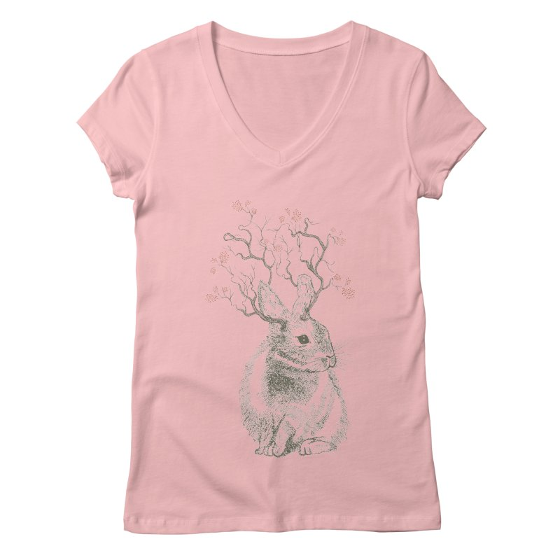 Forest Bunny Women's V-Neck by rosebudstudio's Artist Shop