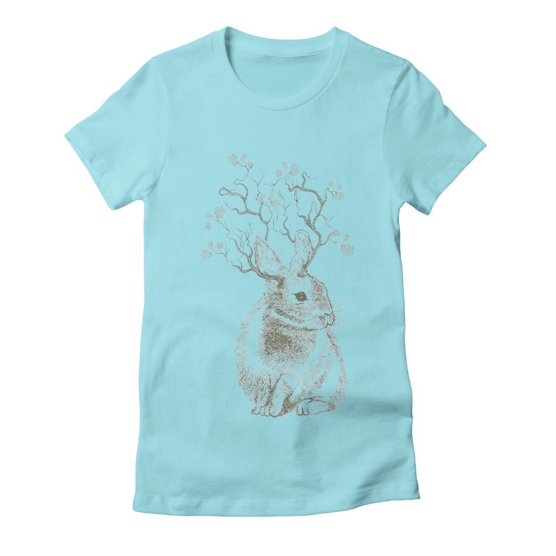 Forest Bunny Women's Fitted T-Shirt by rosebudstudio's Artist Shop