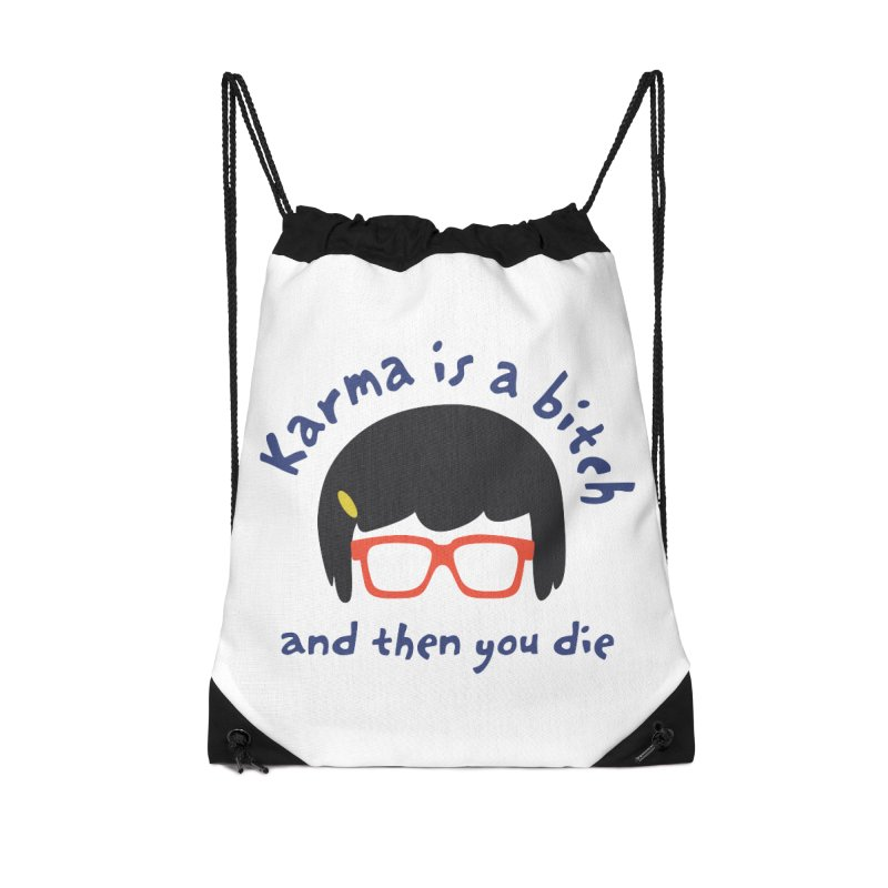 "According to ""Mature"" Tina... Accessories Drawstring Bag Bag by rouages's Artist Shop"