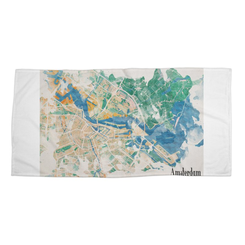 Amsterdam, the watercolor beauty Accessories Beach Towel by rouages's Artist Shop