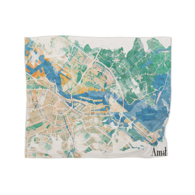 Amsterdam, the watercolor beauty Home Fleece Blanket Blanket by rouages's Artist Shop