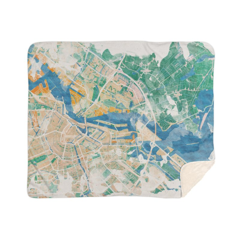 Amsterdam, the watercolor beauty Home Sherpa Blanket Blanket by rouages's Artist Shop