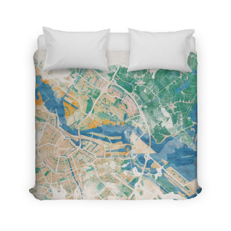 Amsterdam, the watercolor beauty Home Duvet by rouages's Artist Shop