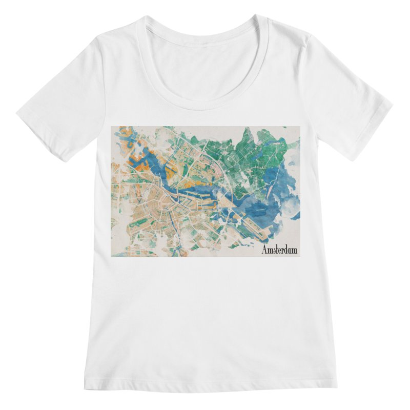 Amsterdam, the watercolor beauty Women's Regular Scoop Neck by rouages's Artist Shop