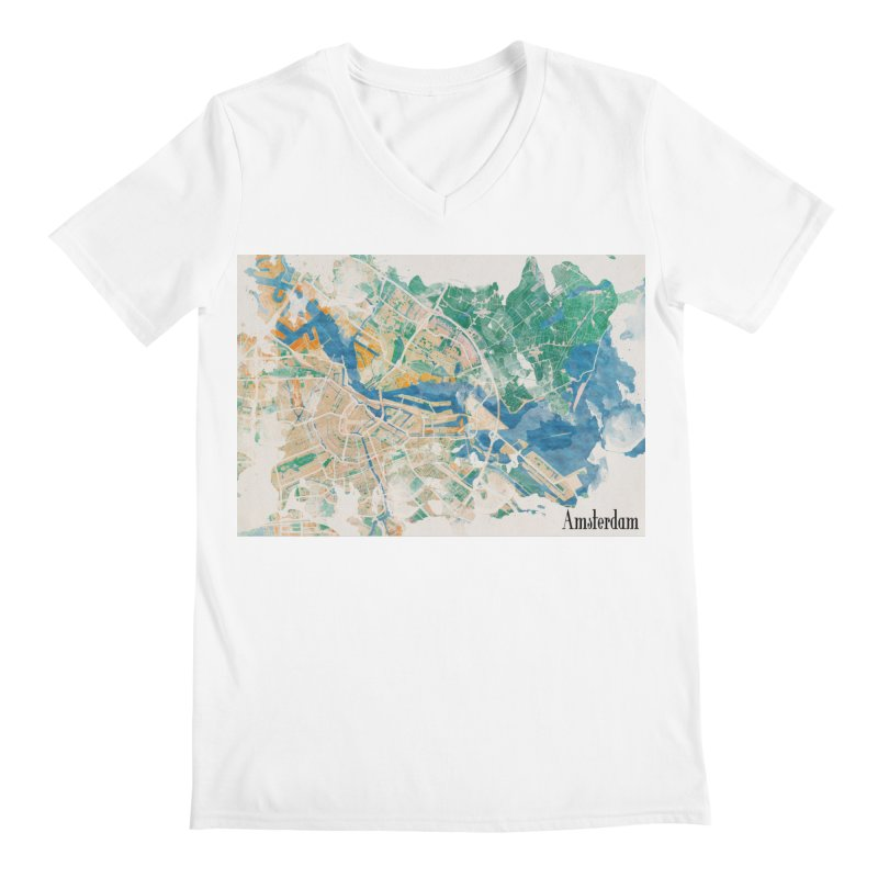 Amsterdam, the watercolor beauty Men's Regular V-Neck by rouages's Artist Shop