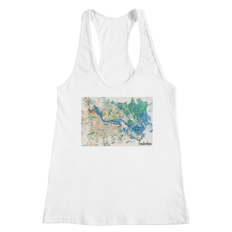 Amsterdam, the watercolor beauty Women's Racerback Tank by rouages's Artist Shop
