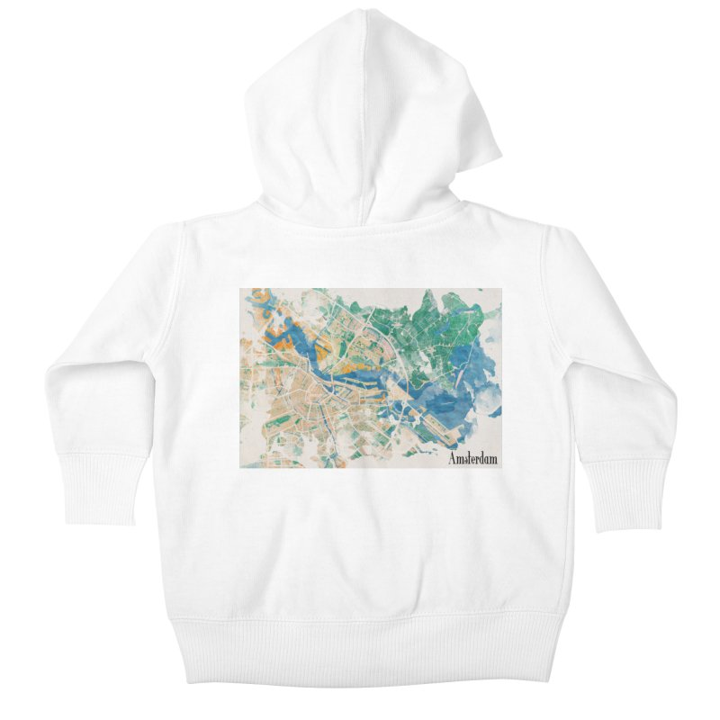Amsterdam, the watercolor beauty Kids Baby Zip-Up Hoody by rouages's Artist Shop