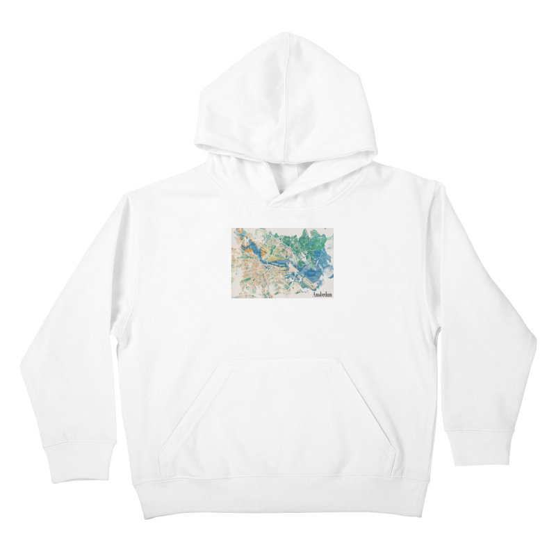 Amsterdam, the watercolor beauty Kids Pullover Hoody by rouages's Artist Shop