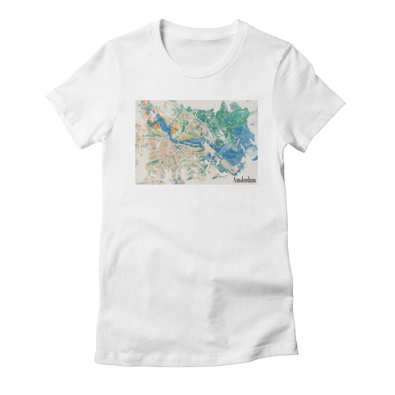 Amsterdam, the watercolor beauty Women's Fitted T-Shirt by rouages's Artist Shop