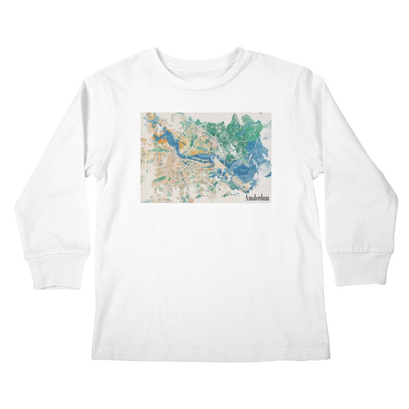 Amsterdam, the watercolor beauty Kids Longsleeve T-Shirt by rouages's Artist Shop