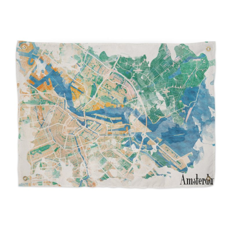 Amsterdam, the watercolor beauty Home Tapestry by rouages's Artist Shop