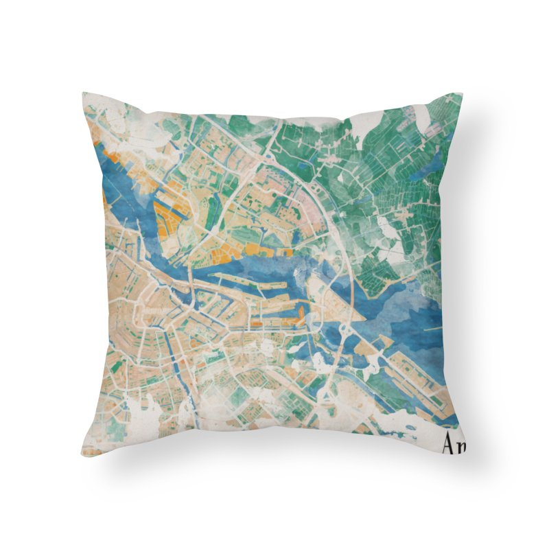 Amsterdam, the watercolor beauty Home Throw Pillow by rouages's Artist Shop