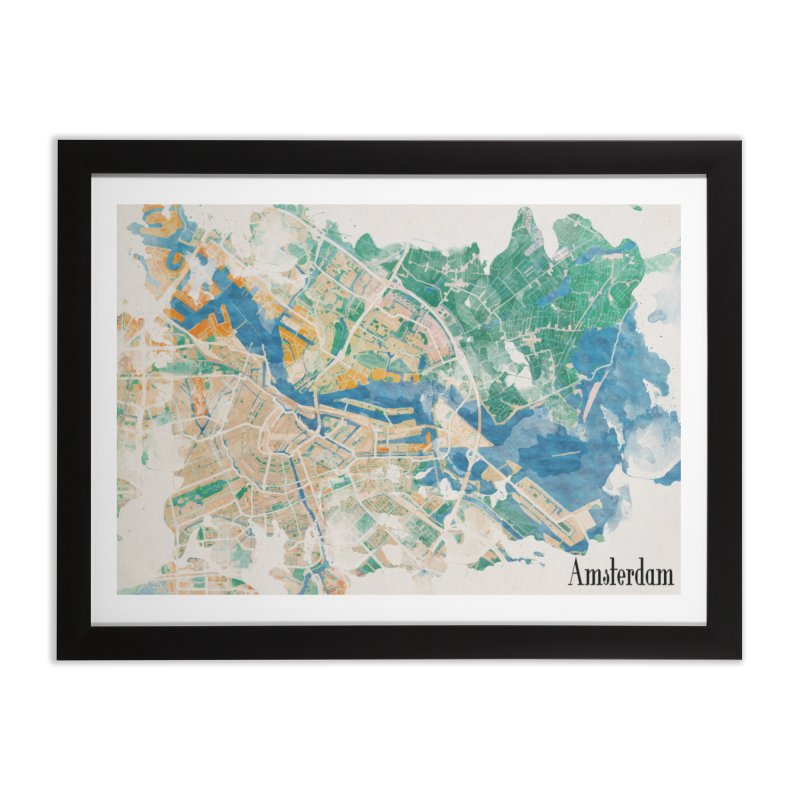 Amsterdam, the watercolor beauty Home Framed Fine Art Print by rouages's Artist Shop