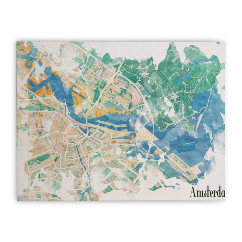 Amsterdam, the watercolor beauty Home Stretched Canvas by rouages's Artist Shop
