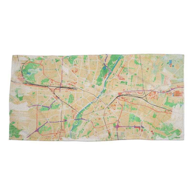 Munich in Watercolor Accessories Beach Towel by rouages's Artist Shop