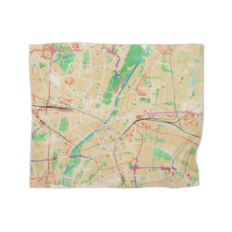 Munich in Watercolor Home Fleece Blanket Blanket by rouages's Artist Shop