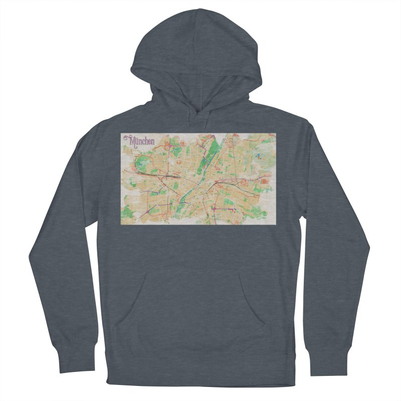 Munich in Watercolor Men's French Terry Pullover Hoody by rouages's Artist Shop